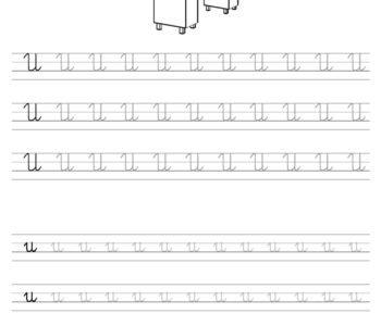 Szablon do nauki pisania literki U wraz z kolorowanką do wydruku