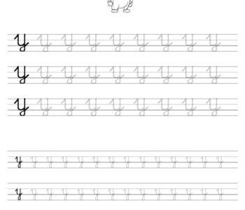 Szablon do nauki pisania literki Y wraz z kolorowanką do wydruku
