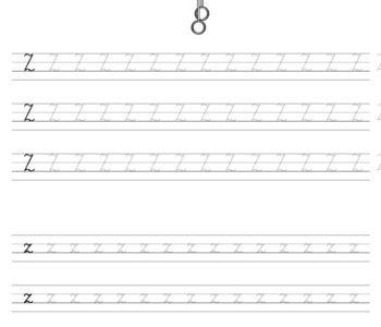 Szablon do nauki pisania literki Z wraz z kolorowanką do wydruku