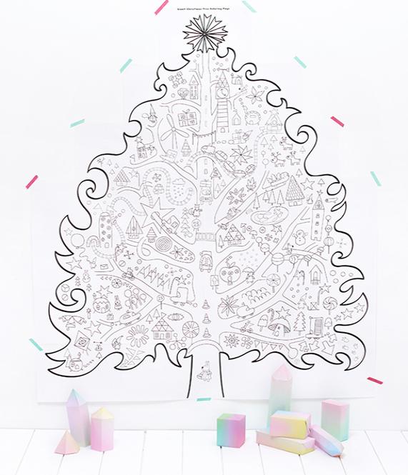 świąteczna choinka kolorowanka gigant do wydruku