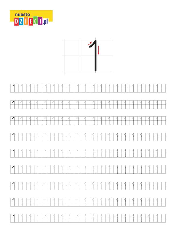 Darmowy szablon edukacyjny do nauki pisania cyferki 1 - do ściągnięcia i wydruku