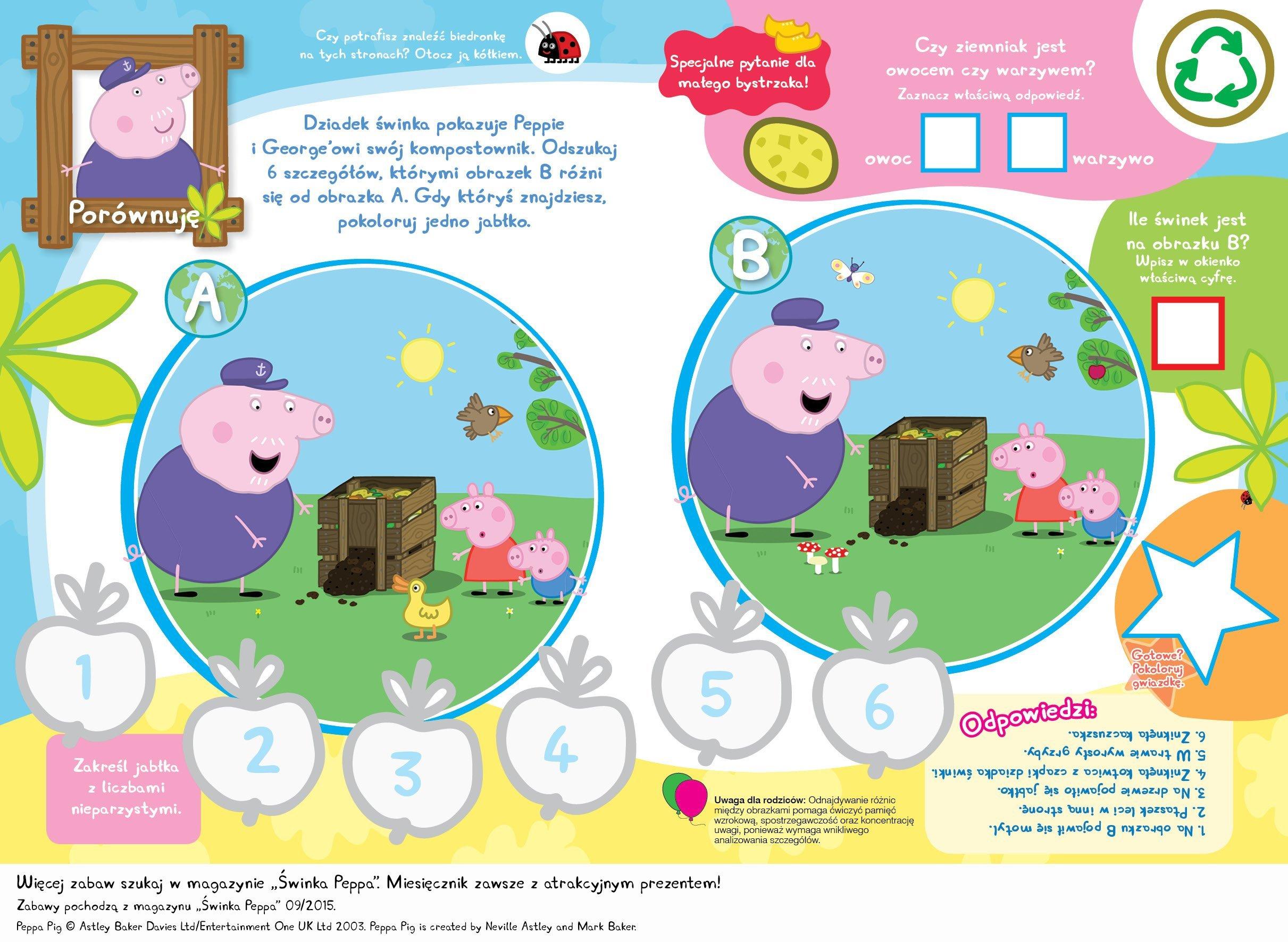 Świnka Peppa zabawy do druku znajdź szczegóły