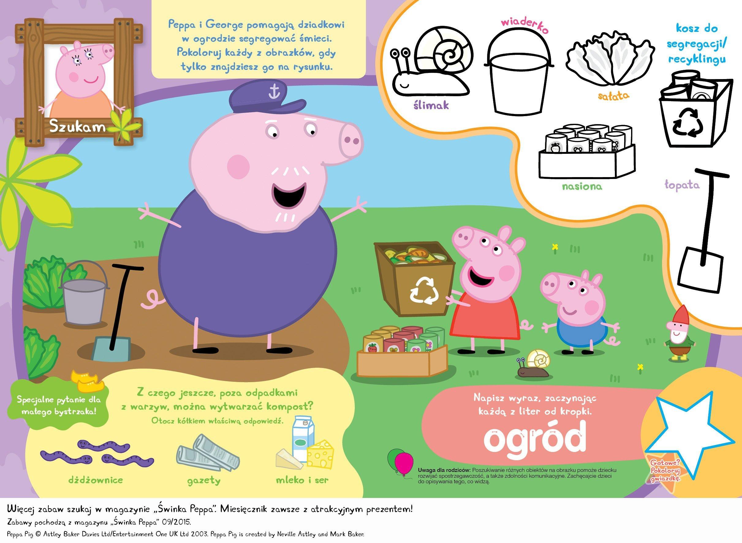 Świnka Peppa, zabawy dla dzieci do druku, znajdź przedmioty