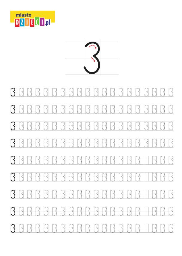 Darmowy szablon edukacyjny do nauki pisania cyferki 3 - do ściągnięcia i wydruku