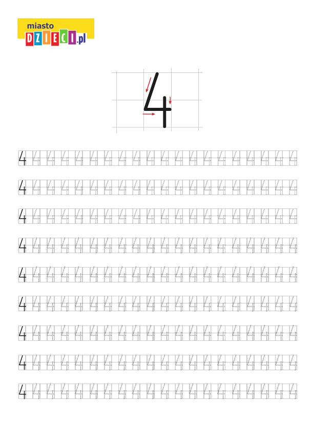 Darmowy szablon edukacyjny do nauki pisania cyferki 4 - do ściągnięcia i wydruku