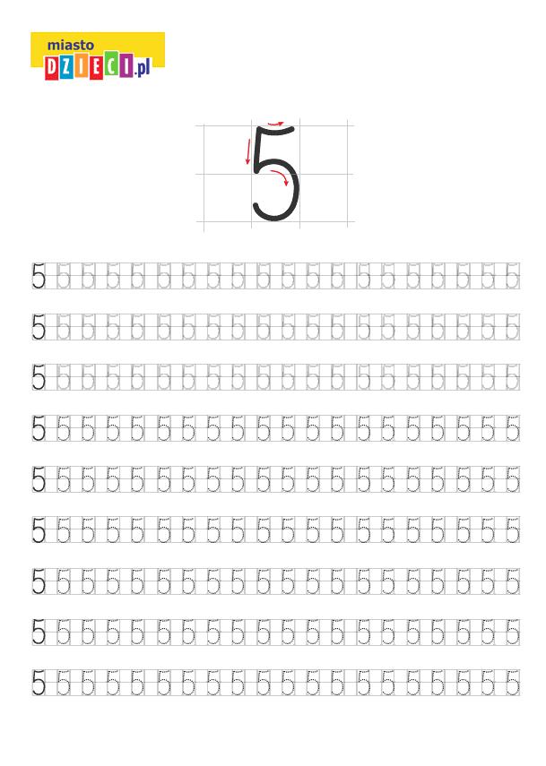 Darmowy szablon edukacyjny do nauki pisania cyferki 5 - do ściągnięcia i wydruku