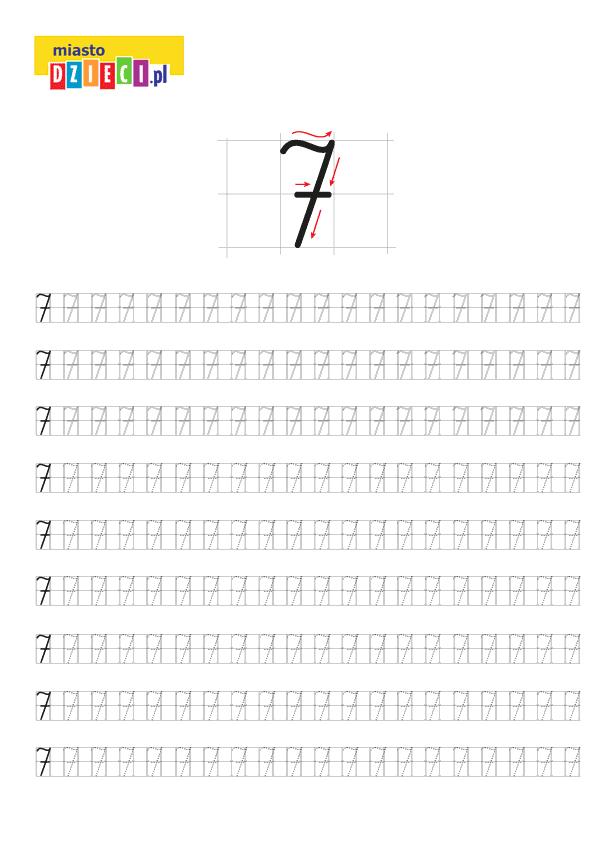 Darmowy szablon edukacyjny do nauki pisania cyferki 7 - do ściągnięcia i wydruku