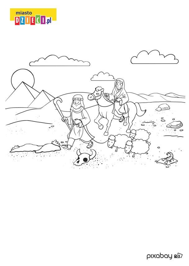 Darmowa kolorowanka z wędrującum Abrahamem - do druku