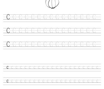 Szablon do nauki pisania literki C wraz z kolorowanką, gotowy do wydruku