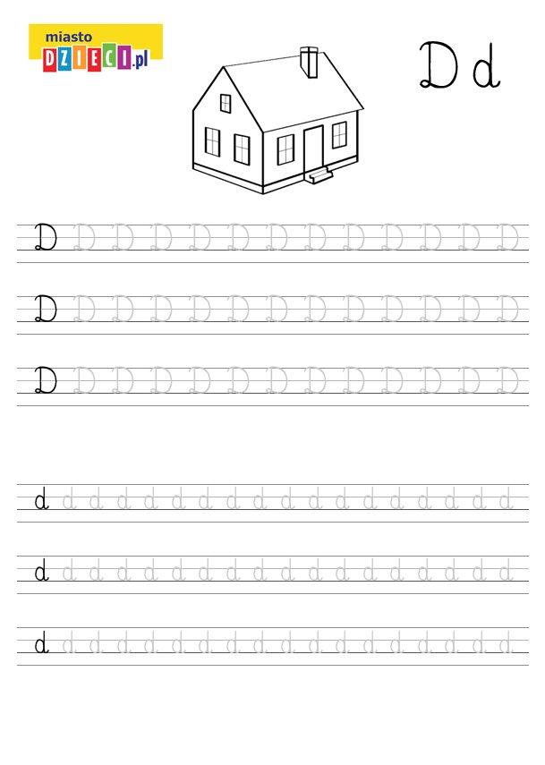 Szablon do nauki pisania literki D wraz z kolorowanką do wydruku