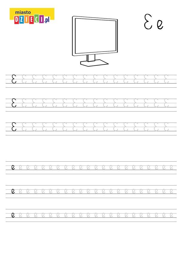 Szablon do nauki pisania literki E wraz z kolorowanką do wydruku