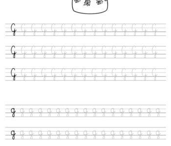 Szablon do nauki pisania literki G wraz z kolorowanką do wydruku