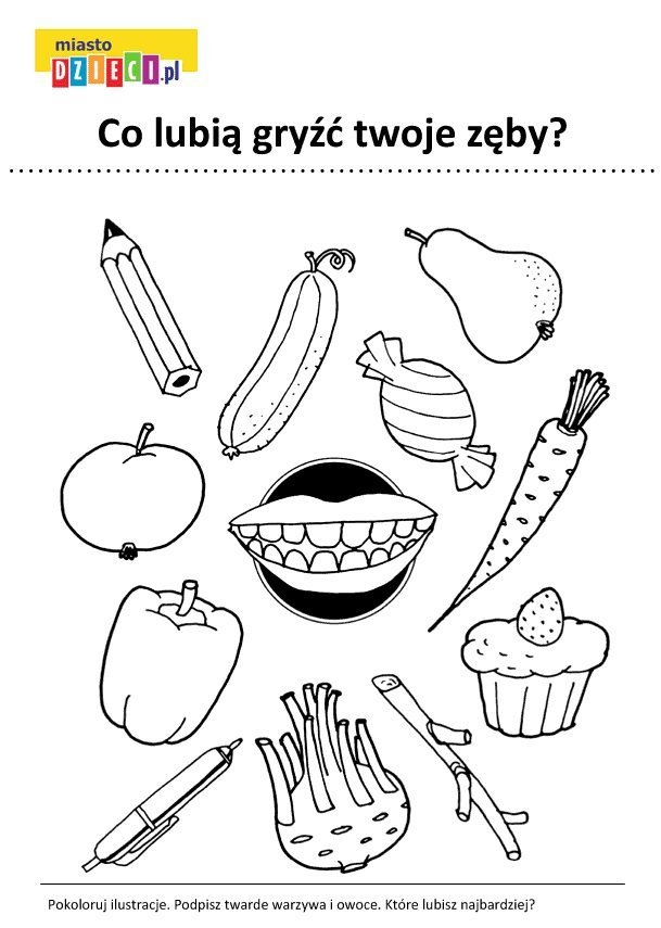 Co lubią gryźć Twoje zęby - kolorowanka do ściągnięcia i wydruku