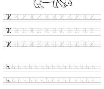 Szablon do nauki pisania literki H wraz z kolorowanką do wydruku