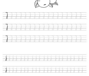 Szablon do nauki pisania literki J wraz z kolorowanką do wydruku
