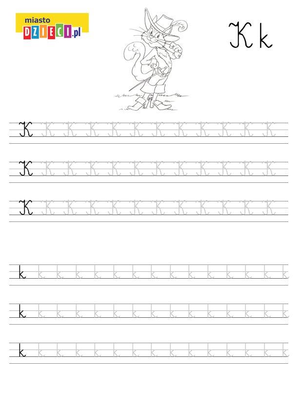 Szablon do nauki pisania literki K wraz z kolorowanką do wydruku