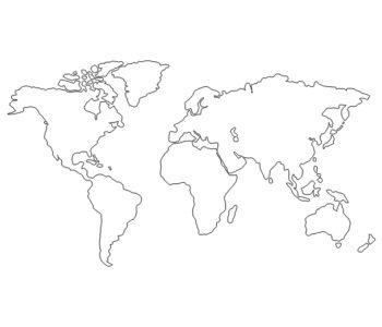 Darmowa kolorowanka do druku przedstawiająca zarys kontynentów
