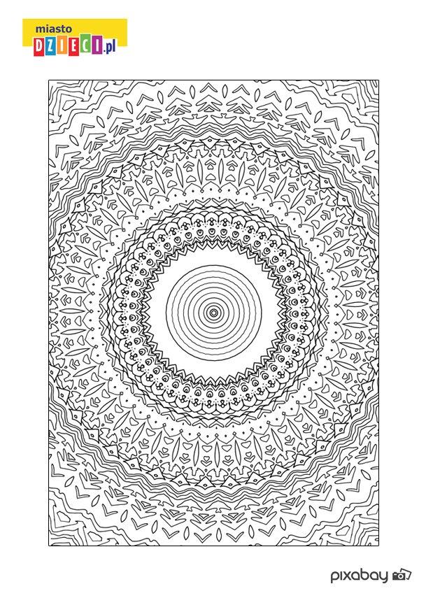 Kolorowanka antystresowa z mandalą - do druku