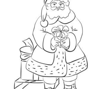 Święty Mikołaj z prezentem
