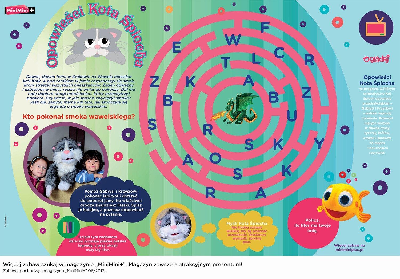 Zabawy do druku Opowieści kota Śpiocha labirynt dla dzieci