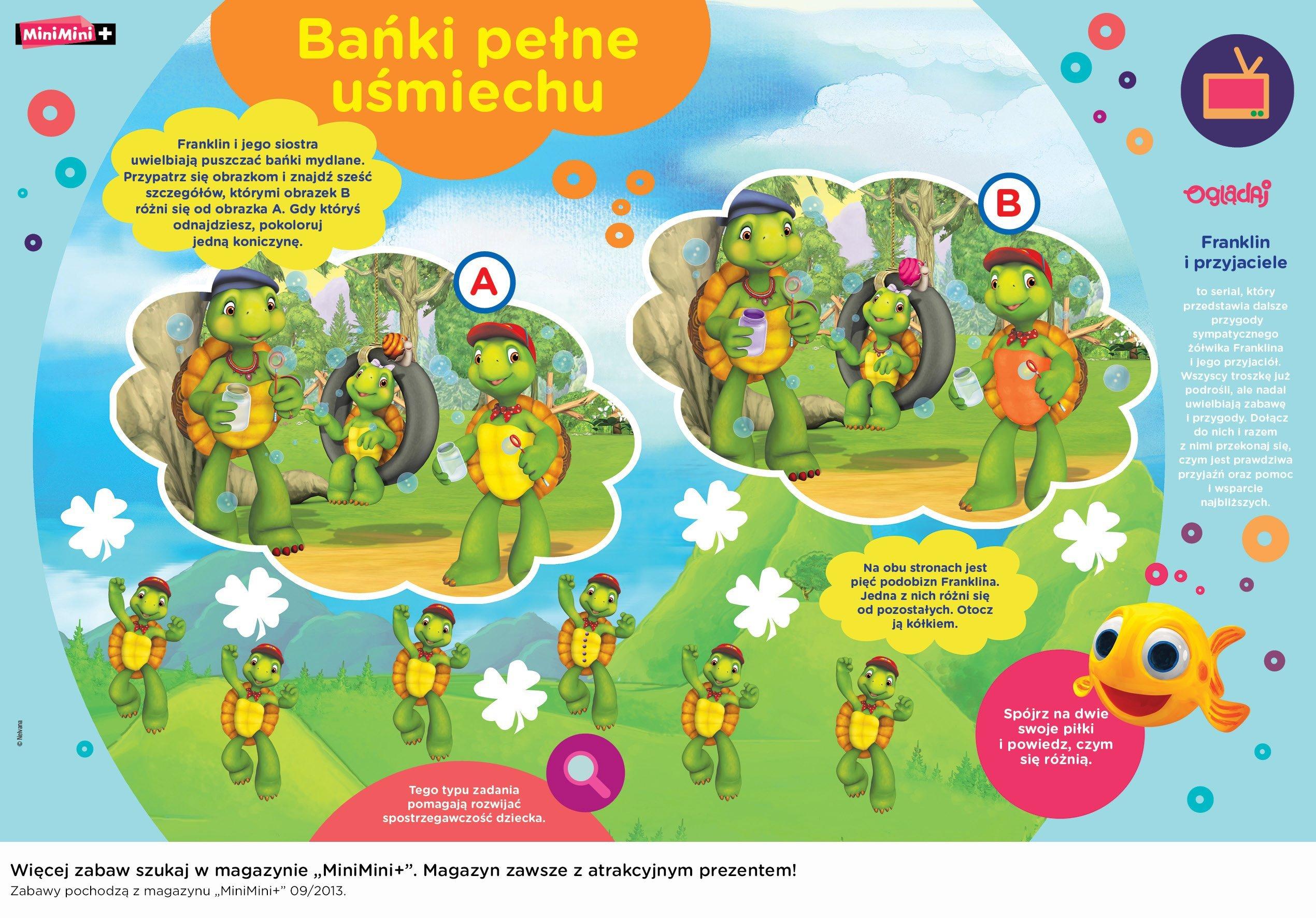Franklin i przyjaciele zabawy do druku dla dzieci