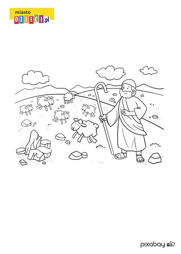 Kolorowanka z pasterzem i owcami do bezpłatnego wydruku