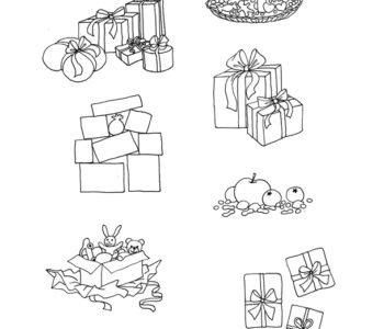Kolorowanka z prezentami do wydruku