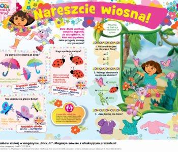 Dora poznaje świat wiosna - wydrukuj zabawę