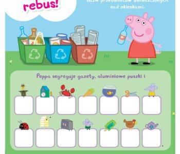 Rebus do druku ze Świnką Peppą - śmieci i recykling