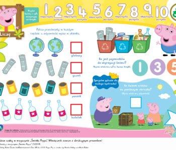 Świnka Peppa uczy liczyć, zabawa do druku dla dzieci