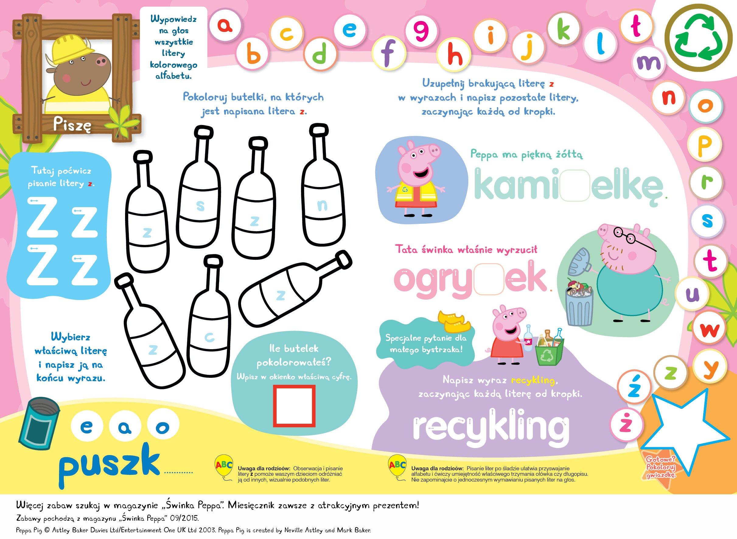 Zabawy ze Świnką Peppą do druku alfabet