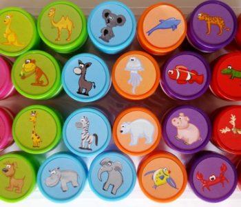 Kolorowe stemple z tuszem –pieczątki zwierzątka 26 sztuk