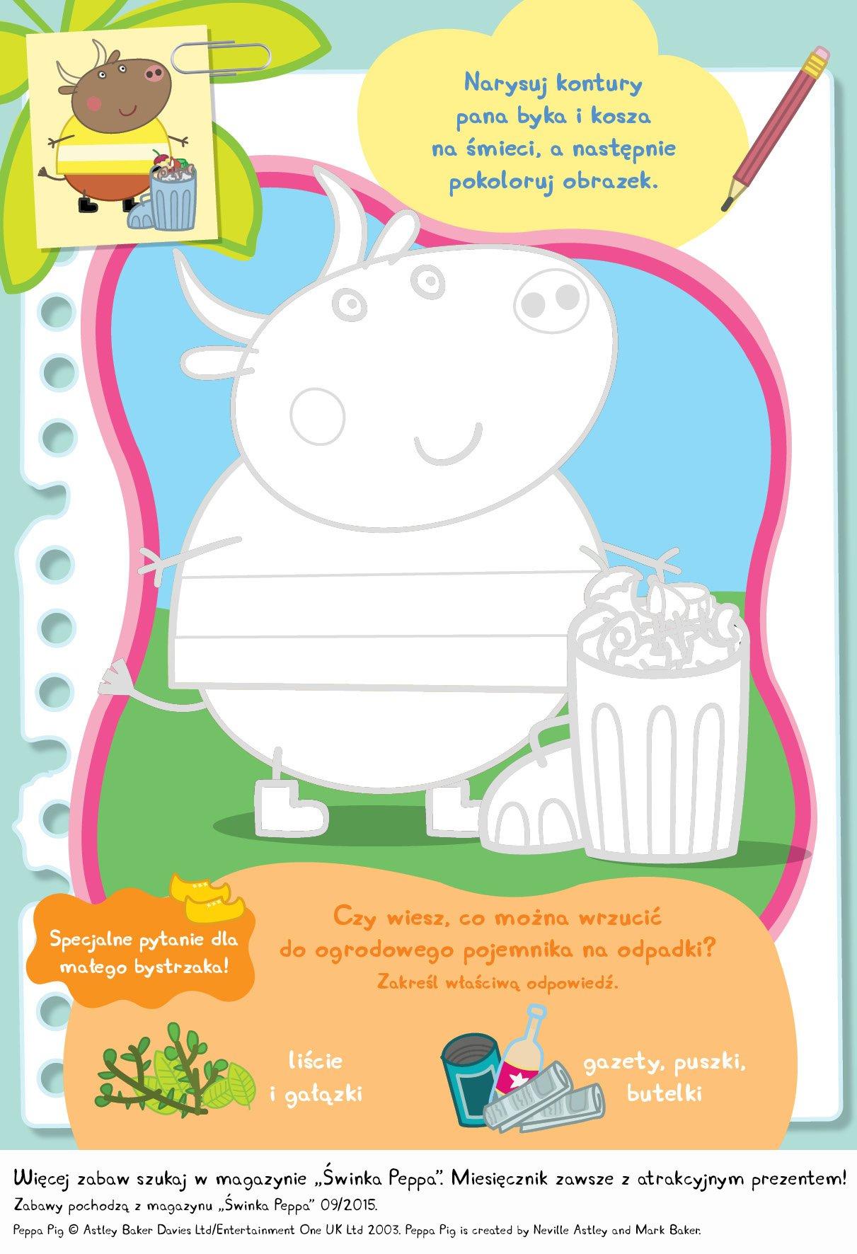 Świnka Peppa zabawa do druku dla dzieci segregacja śmieci