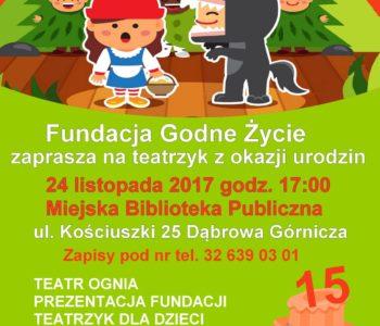 15. urodziny Fundacji Godne Życie – spektakl dla dzieci!