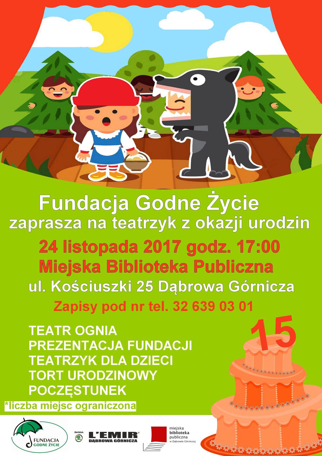 15. urodziny Fundacji Godne Życie - spektakl dla dzieci!
