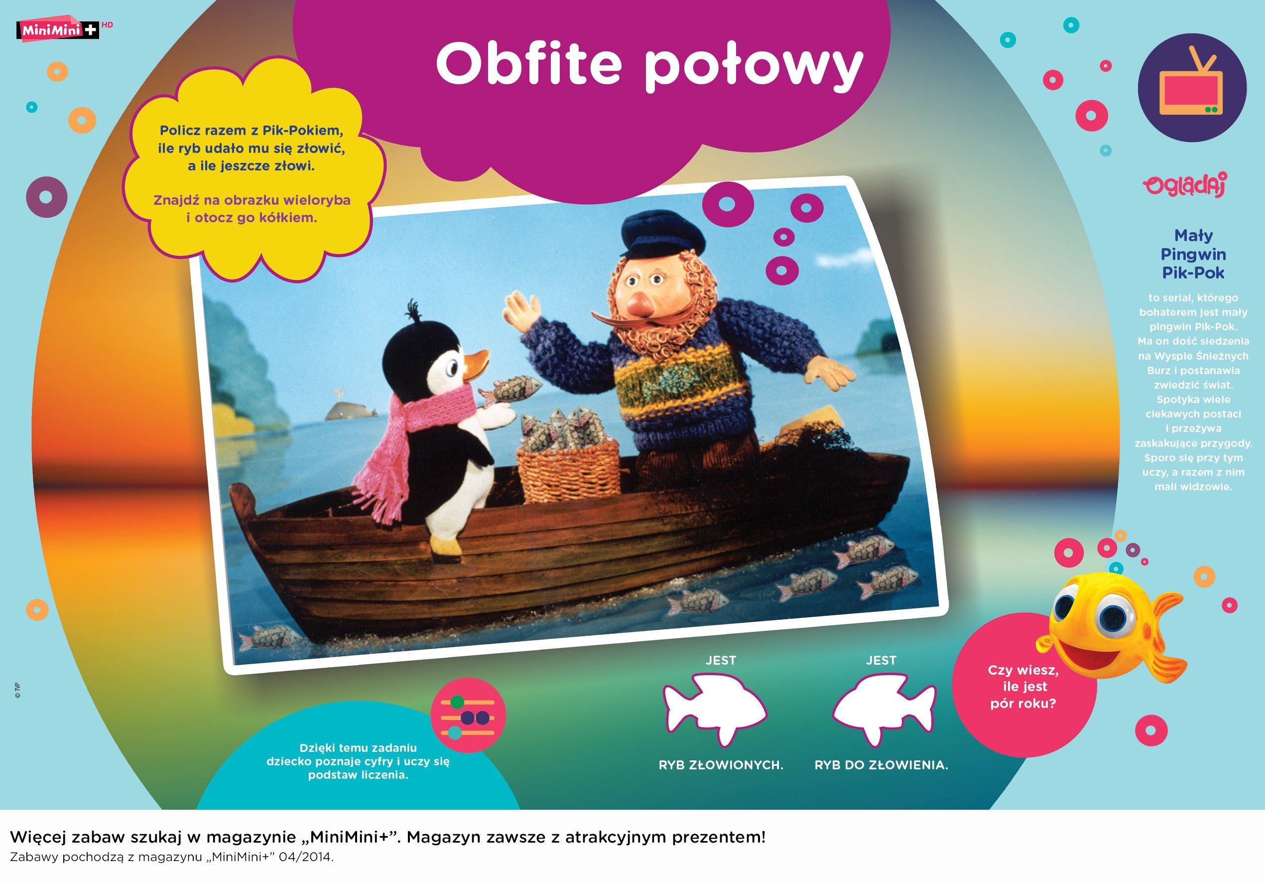 Mały Pingwin Pik Pok zabawy do druku dla dzieci