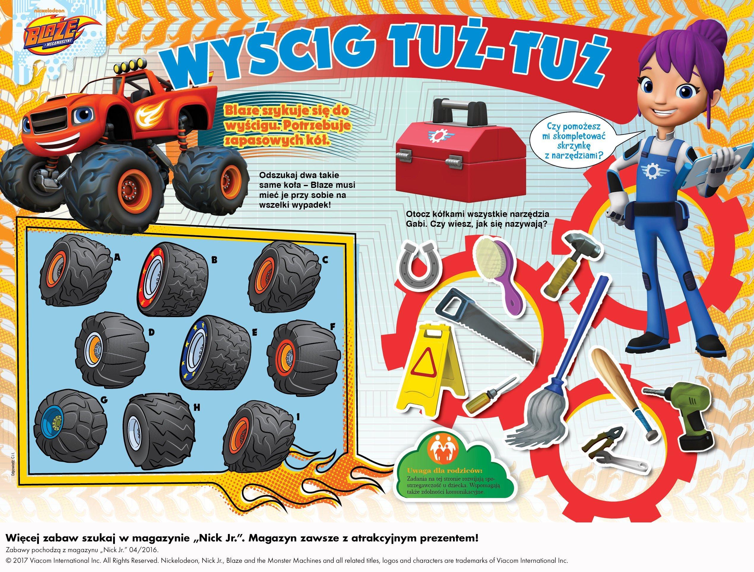 Zabawa do druku dla dzieci z bajki Blaze i Megamaszyny