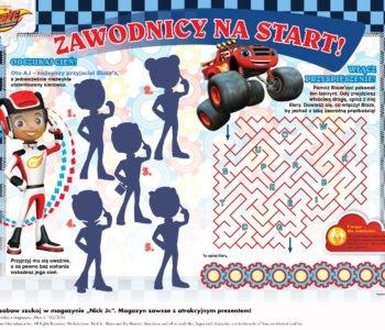Blaze i megamaszyny zawodnicy na start zabawa dla dzieci do druku
