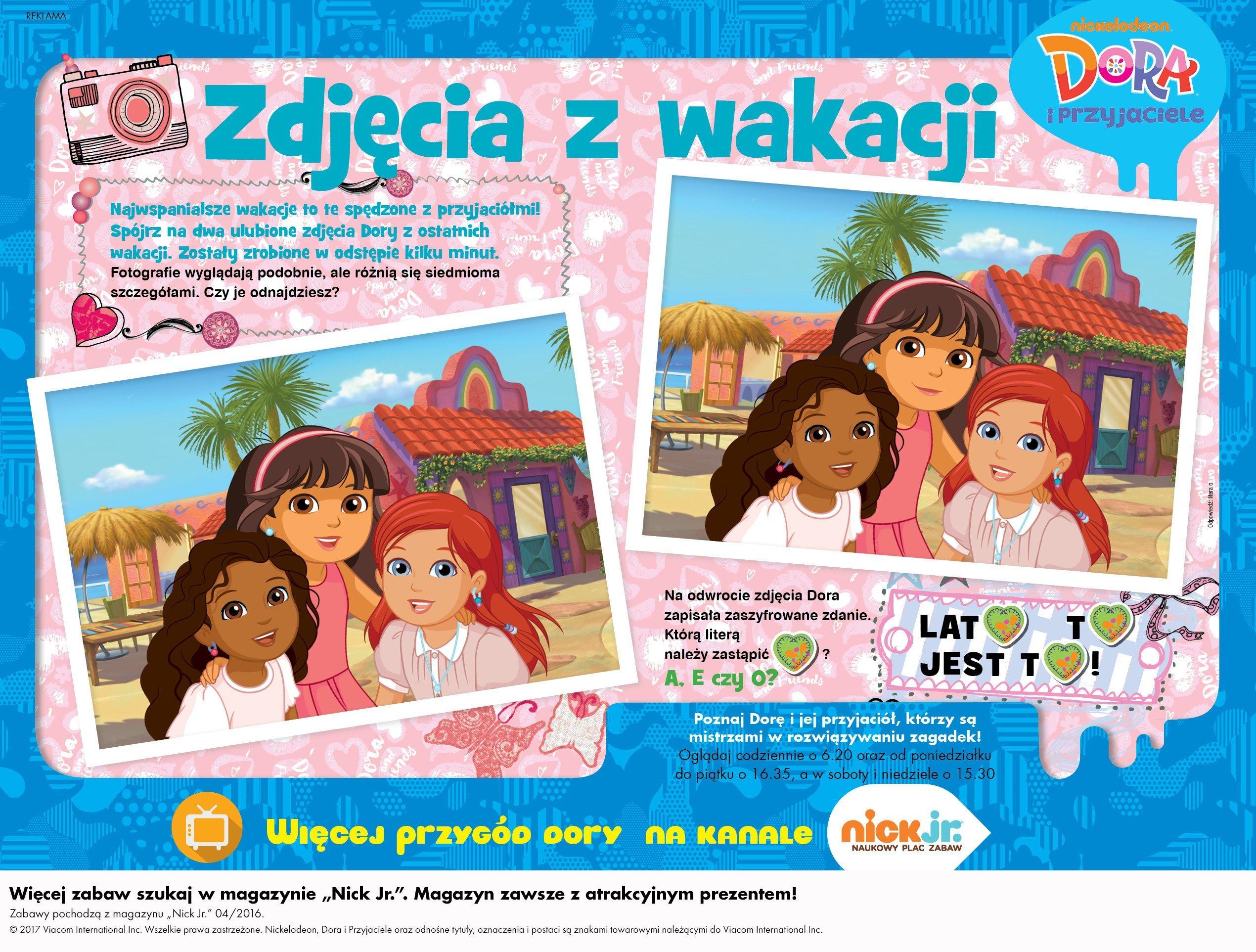 Dora i przyjaciele zabawa do druku, znajdź różnice