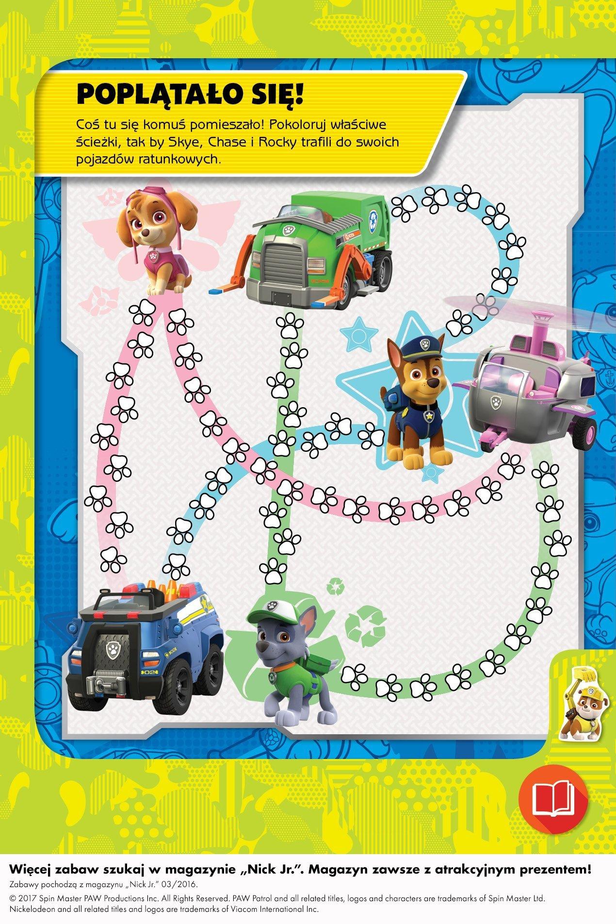 Psi patrol pokoloruj właściwe ścieżki zabawa do druku dla dzieci