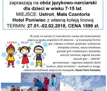 Zimowy obóz językowo-narciarski, Katowice. Zapisy