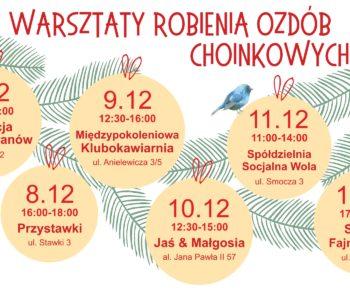 Gwiazdka na Muranowie - warsztaty ozdób choinkowych dla dzieci i sąsiedzkie dekorowanie choinki