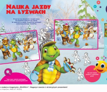 Żółw Franklin i przyjaciele nauka jazdy na łyżwach. Zabawy do druku