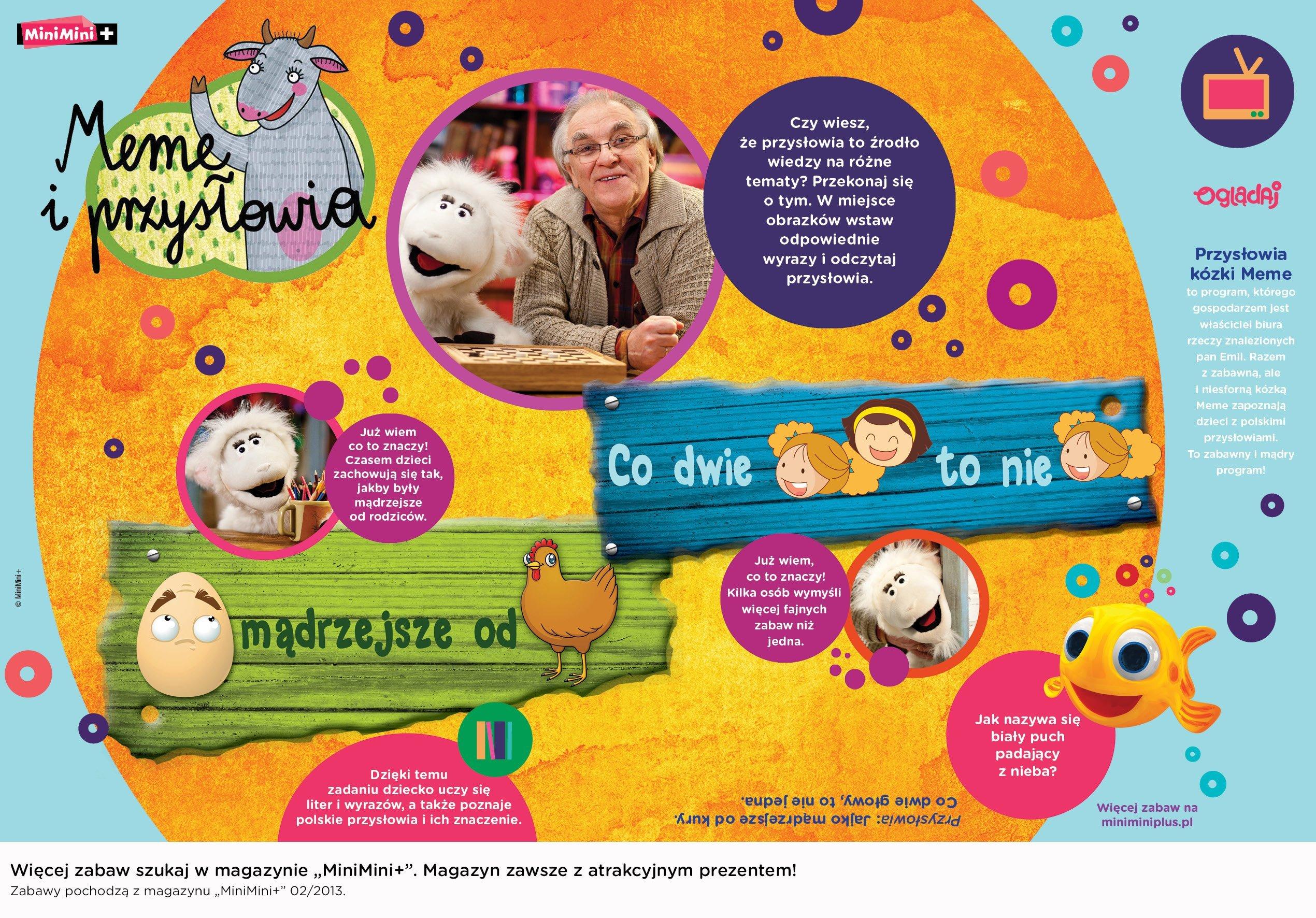 Kózka Meme i przysłowia edukacyjna zabawa dla dzieci do druku