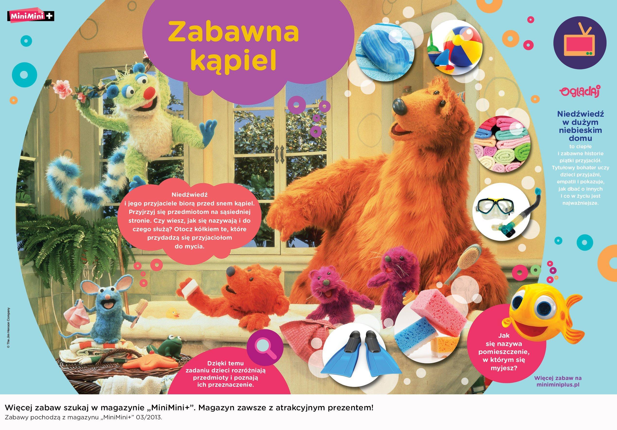 Niedźwiedź w dużym niebieskim domu zabawna kąpiel zabawa do druku dla dzieci