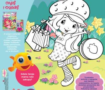 Truskawkowe Ciastko Uwielbiam zakupy kolorowanka dla dzieci do druku