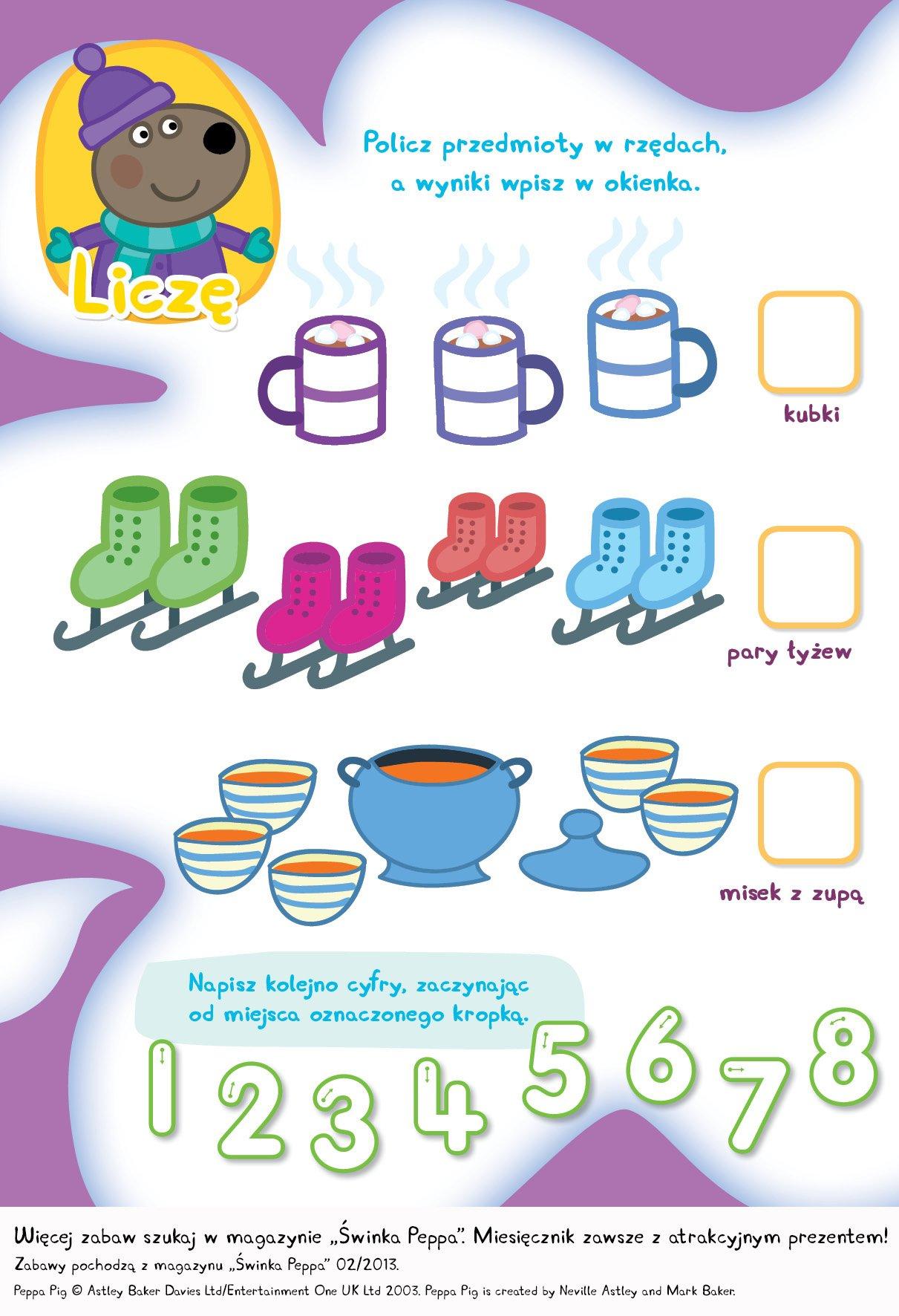 Świnka Peppa policz zimowe przedmioty, zabawa do druku dla dzieci