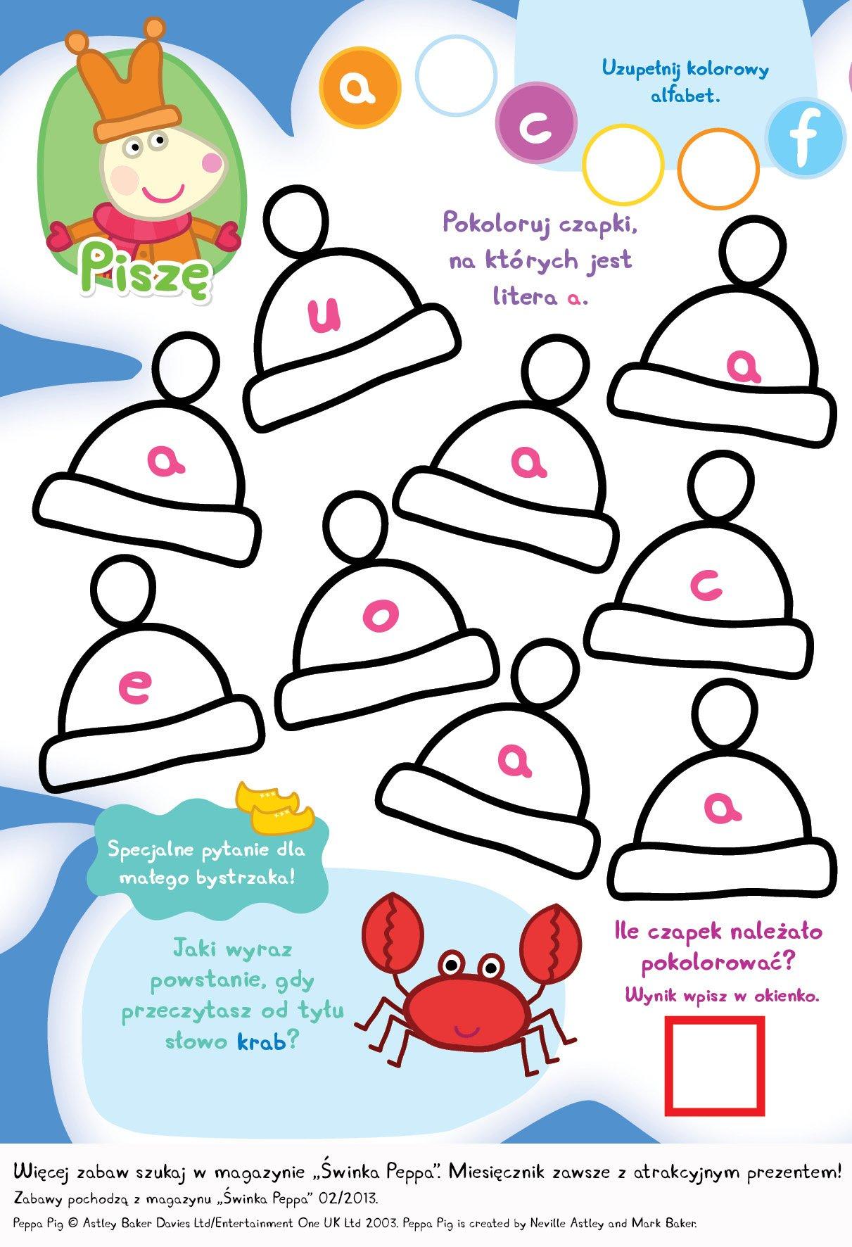 Pokoloruj czapki Świnki Peppy do druku