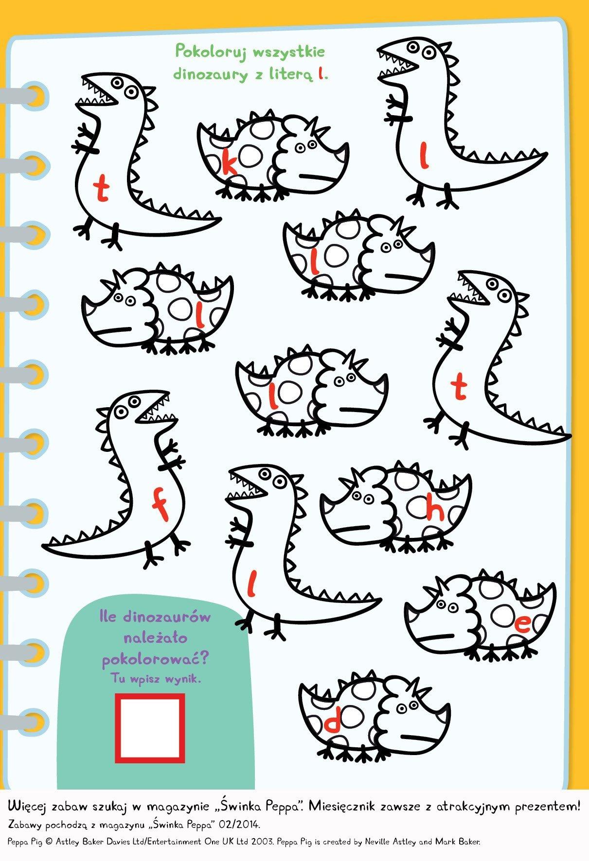 Ile dinozaurow pokolorujesz? malowanki ze Świnką Peppą do druku