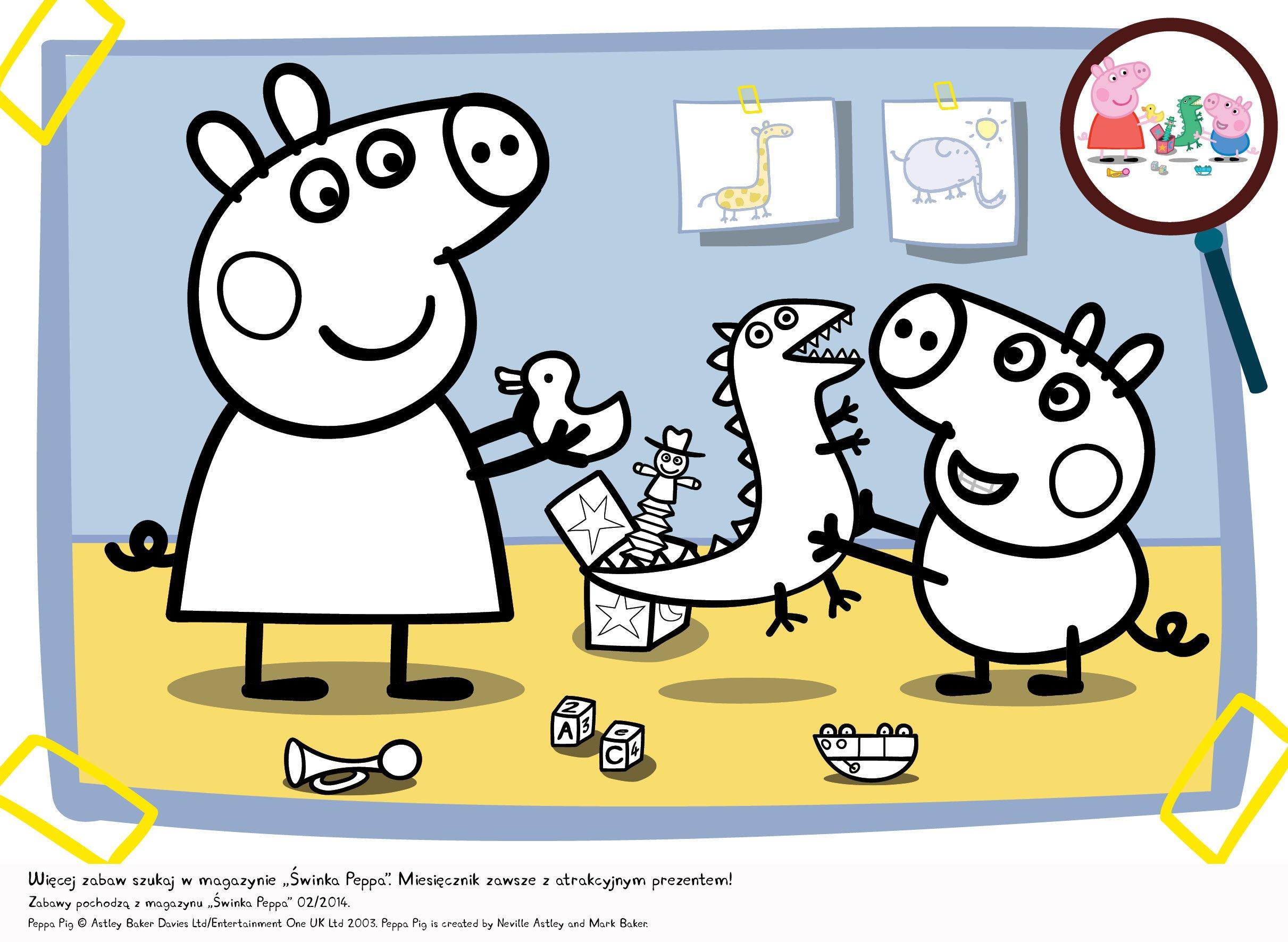 kolorowanka Świnka Peppa i zabawki kolorowanka do druku dla dzieci